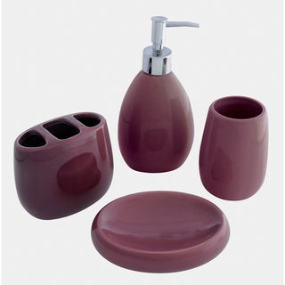 Waverly Ceramic Plum Bath Accessory 4-piece Set