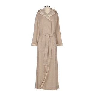 Chic Organic Striped Trim Oatmeal Bathrobe