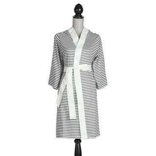 Women's Organic Cotton Silver and White Stripe Robe