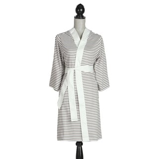 Women's Organic Cotton White and Tan Stripe Robe