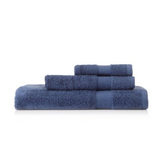 Pima Cotton Chevron Border Navy 3-piece Towel Set