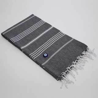 Authentic Fouta Black Charcoal Turkish Cotton Towel