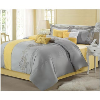 Ann Harbor Yellow/Grey 12-piece Bed in a Bag with Sheet Set