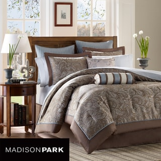 Madison Park Whitman Blue 12-piece King-size Bed in a Bag with Sheet Set
