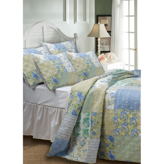 Vintage-style Jade Deluxe Five-piece Patchwork Cotton Bedspread Set