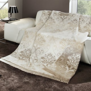 Bocasa Natural Floral Woven Throw Blanket