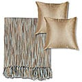 Blue/Beige Machine Washable Throw Blanket and Decorative Pillows