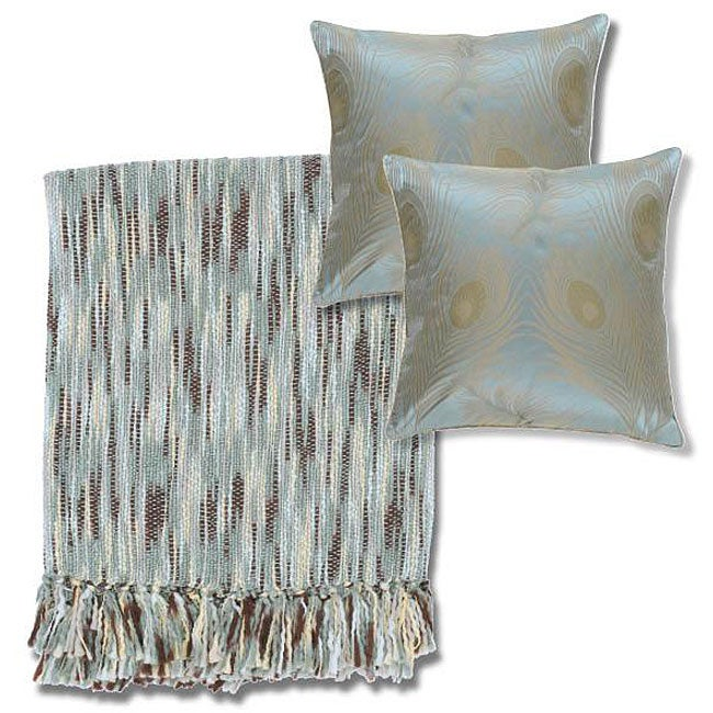 Blue/ Yellow Throw Blanket and Decorative Pillows