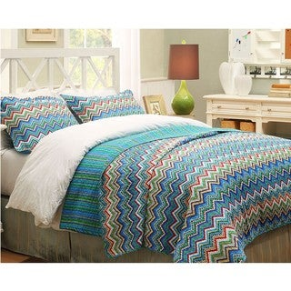 Blue ZigZag King-size 3-piece Quilt Set