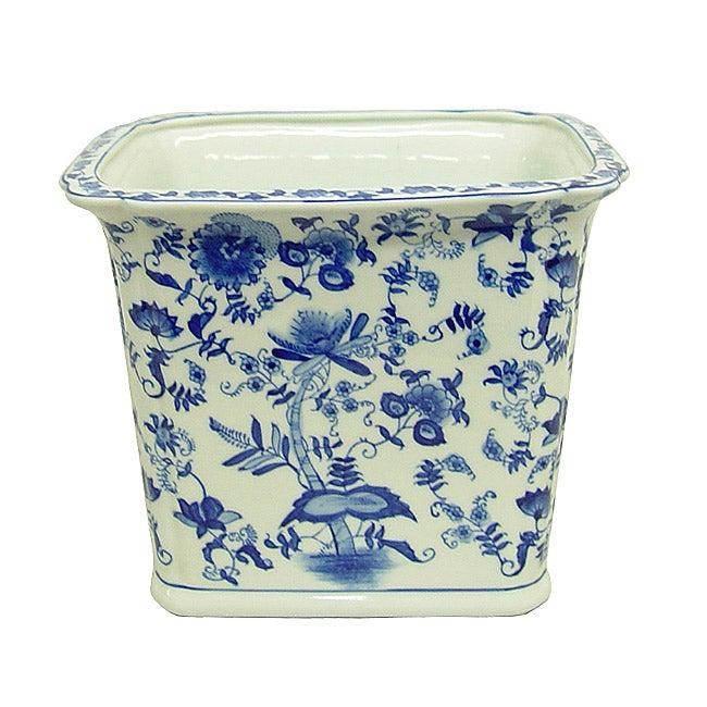 Blue and White Rectangular Porcelain Waste Basket