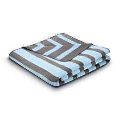 Bocasa French Stripes Baby Blue Blanket