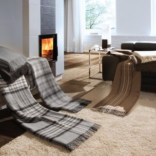 Bocasa Striped Brown Woven Wool Blanket
