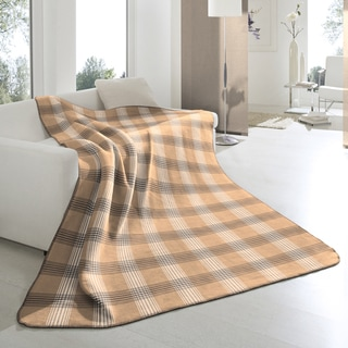 Bocasa Tan Plaid Woven Throw Blanket