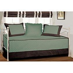 Brentwood Quilted Seafoam Blue/Espresso Cotton/Polyester 4-piece Daybed Set