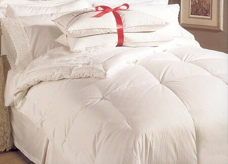Buckingham Stripe 330 Thread Count White Goose Down Comforter and Pillow Set
