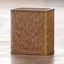 'Carter' Cappuccino Rectangular Woven Wastebasket