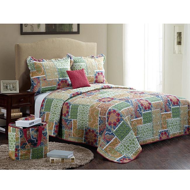 Catalina Red 5-piece Quilt Set