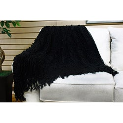 Charlotte Ruffled Black Throw