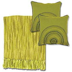 Citrus/ Ivory Throw Blanket and Decorative Pillows