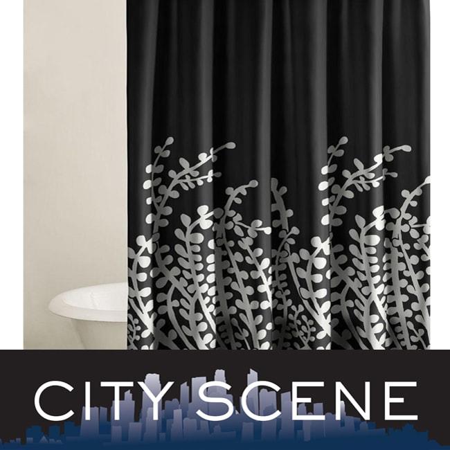 City Scene Branches Black Shower Curtain 12503231