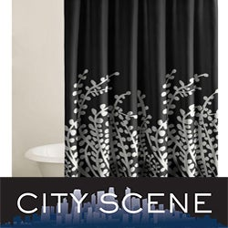 City Scene Branches Black Shower Curtain