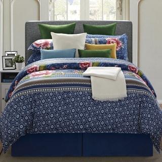 EverRouge Royal Blue Floral 8-piece Queen Cotton Comforter Set