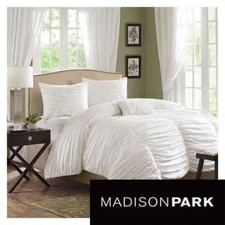 Madison Park Catalina White 4-piece Ruched Cotton Comforter Set