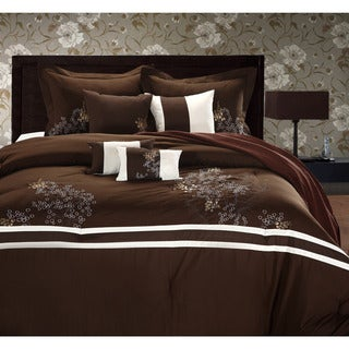 Park Avenue Brown/ivory 8-piece Comforter Set