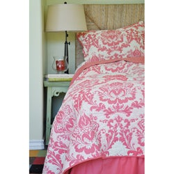 Damask Coral Twin Size 3-piece Quilt Set