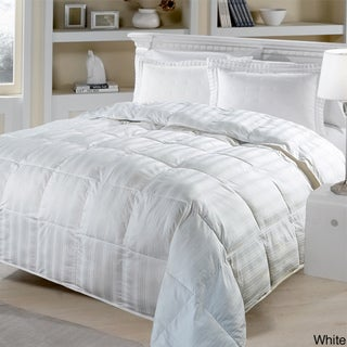 All-season Beauty Stripe 330 Thread Count White Down Comforter