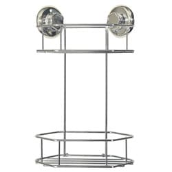 EZ Hold Suction London Chrome Finish 2-tier Corner Shelf