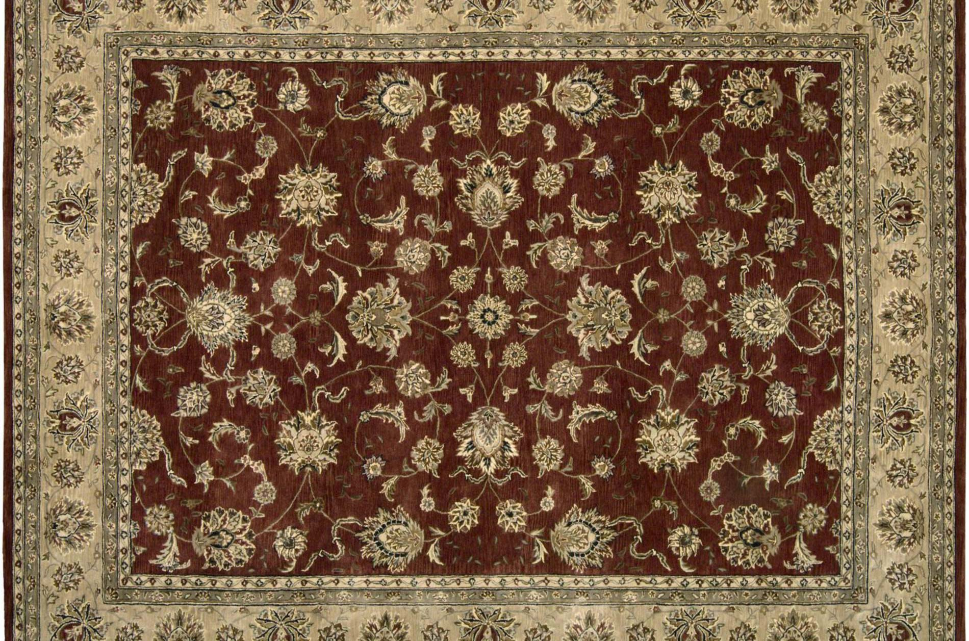 Hand-tufted Red Wool/ Silk Rug (12' x 15')