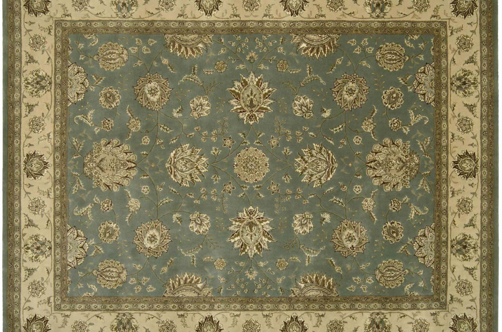 Hand-tufted Blue Wool/ Silk Rug (12' x 15')