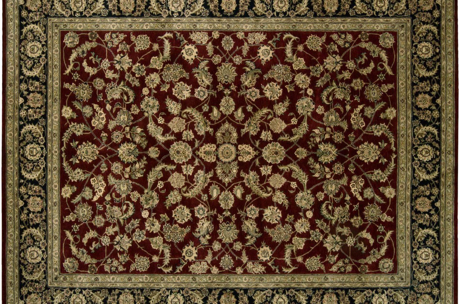 Hand-tufted Burgundy Wool/ Silk Rug (12' x 15')