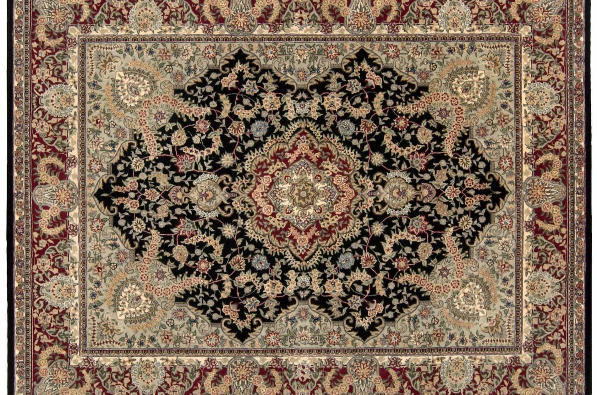 Hand-tufted Black Wool/ Silk Rug (12' x 15')