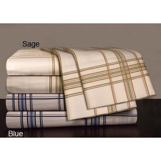 Egyptian Cotton 300 Thread Count Plaid Print Sheet Set