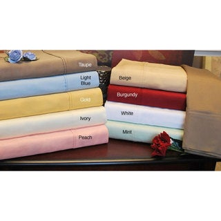 Egyptian Cotton 300 Thread Count Split King-size Solid Sheet Set