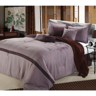 Embroidered Vines Purple/plum 8-piece Comforter Set