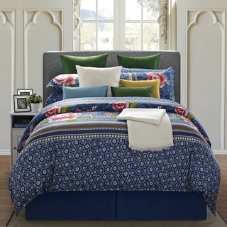 EverRouge Royal Blue Floral 8-piece King Cotton Comforter Set
