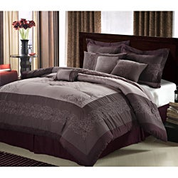 Florence Plum Embroidered 12-piece Bed in a Bag with Sheet Set