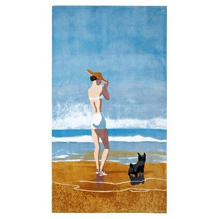Girl With Dog New Yorker Beach Towel