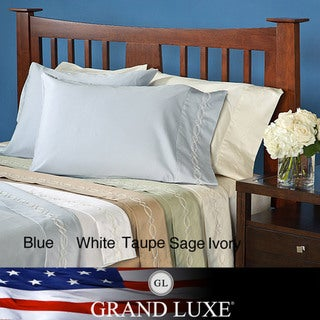 Grand Luxe Egyptian Cotton Sateen 300 Thread Count Chain Deep Pocket Sheet Set and Pillowcase Separates