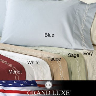 Grand Luxe Egyptian Cotton Sateen 500 Thread Count Chain Deep Pocket Sheet Set and Pillowcase Separates