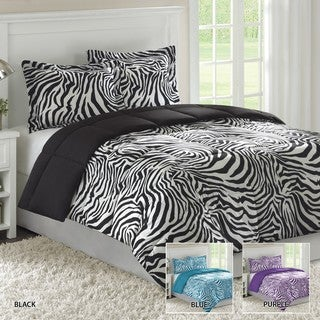 Home Essence Reversible Zebra King-size 3-piece Down Alternative Comforter and Sham Set