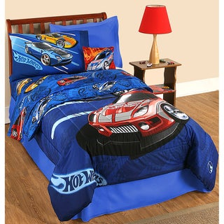Hot Wheels 'Race' Twin-size Bed in a Bag with Sheet Set