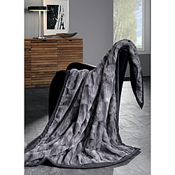 IBENA Grey Mink Faux Fur Throw