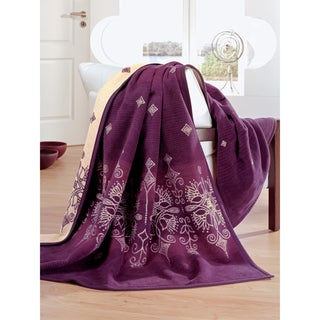 IBENA Messina Royal Plum Oversized Throw