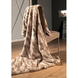 IBENA Natural Tan Mink Faux Fur Oversize Throw