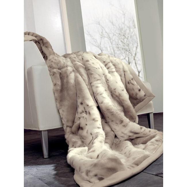 IBENA Snow Leopard Faux Fur Oversize Throw