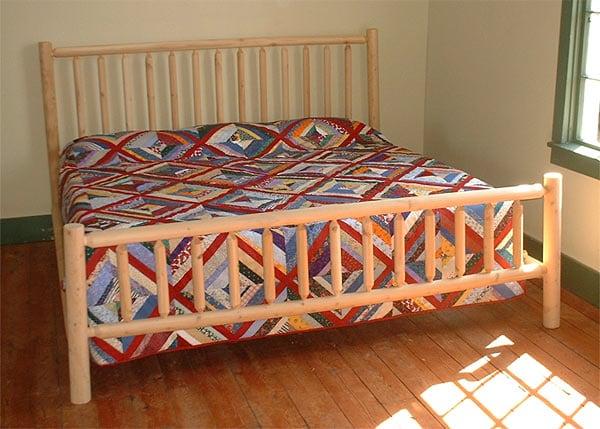 Rustic Log Pole Cedar Adirondack King-size Bed